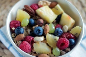 healthy bowl of oatmeal and fruit