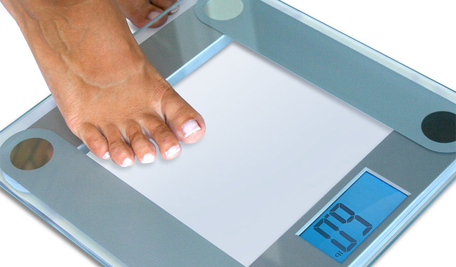 steping on the eatsmart precision scale