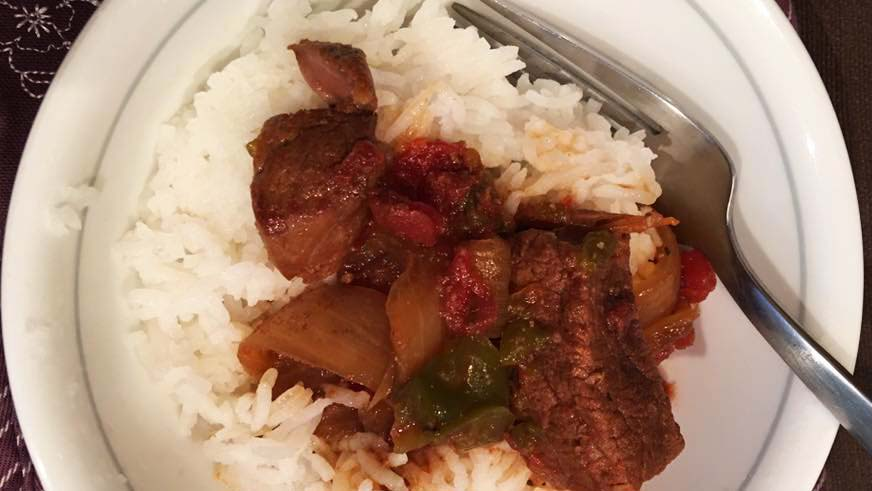 pepper steak with white rice