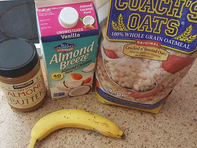 coaches oats, almond milk, almond butter and banana