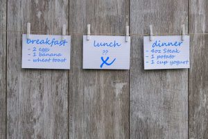 eating diary showing lunch meal being skipped