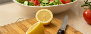 home made salad with a slice of lemon