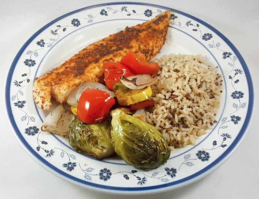 oven roasted vegetables with brown rice and blackened fish