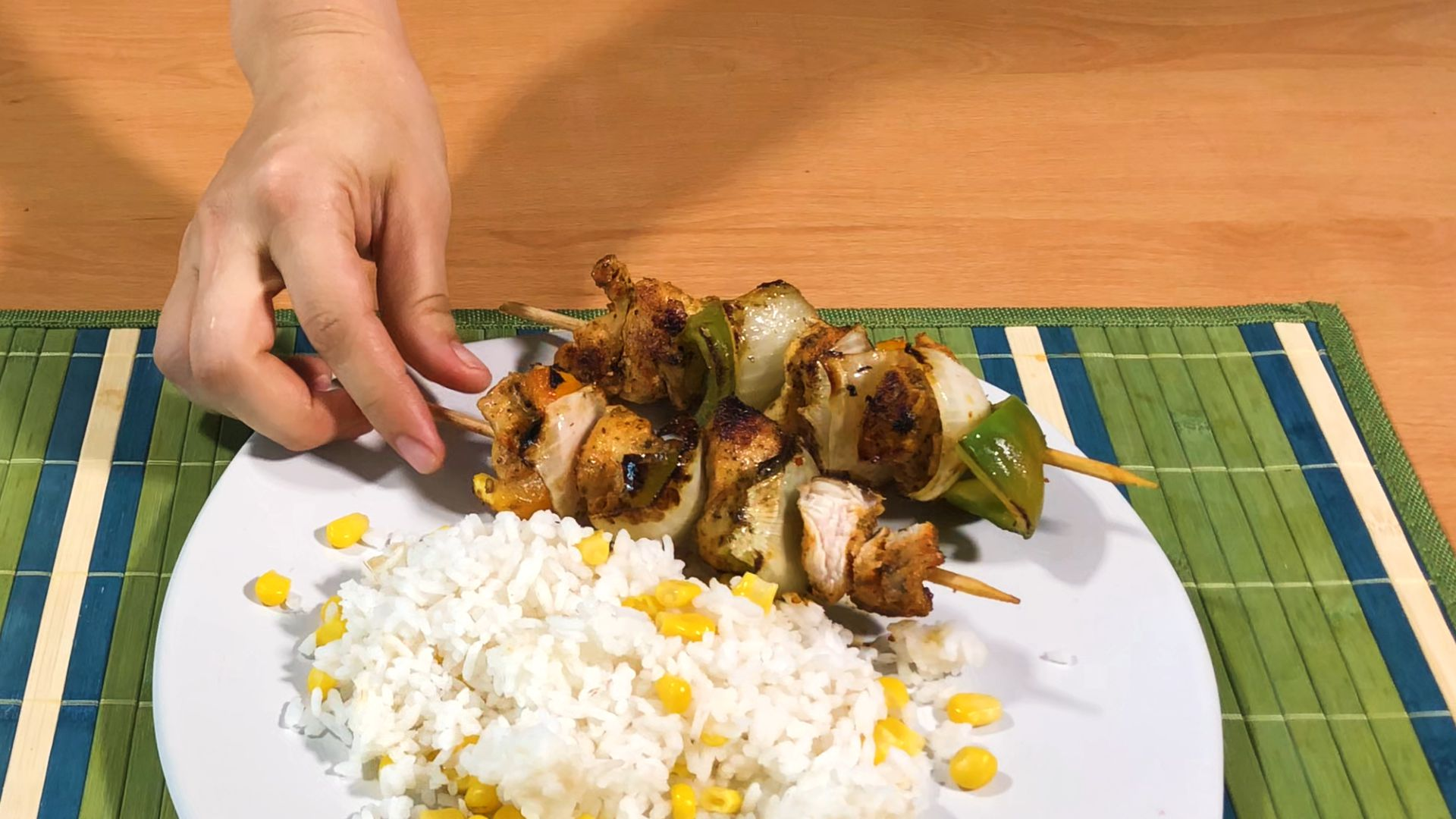 Serving suggestion for your Spicy Cajun Chicken Skewers