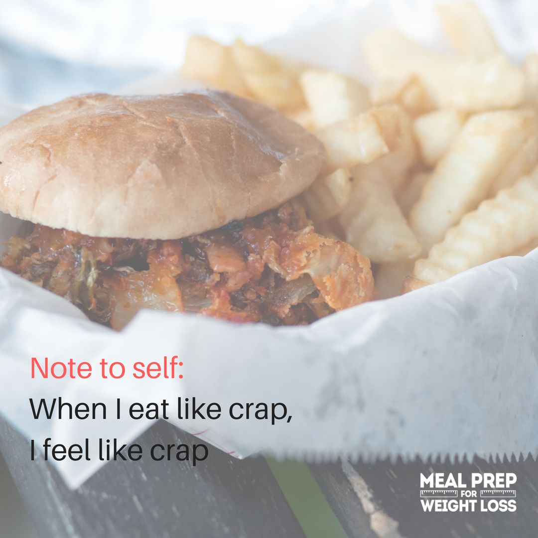 Note to self: when I eat like crap, I feel like crap