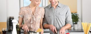 Couple is excited about meal prep and cooking